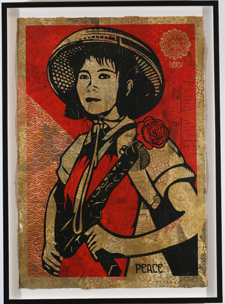 Shepard Fairey -  <strong>Revolutionary Woman</strong> (2007<strong style = 'color:#635a27'></strong>)<bR /> hand painted multiple screened collage onpaper 29 x 42 inches