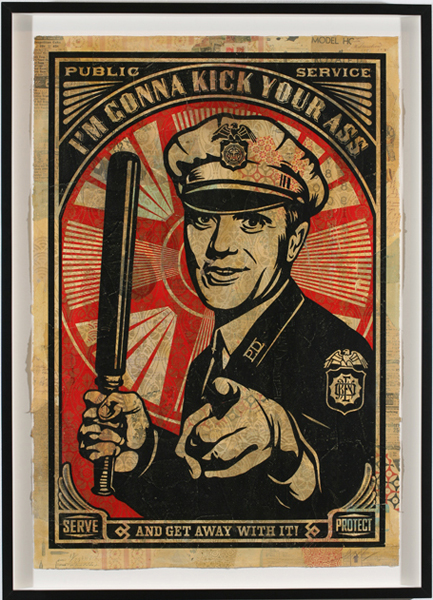 Shepard Fairey -  <strong>Rise Above Cop</strong> (2007<strong style = 'color:#635a27'></strong>)<bR /> hand painted multiple screened collage on paper 29 x 42 inches