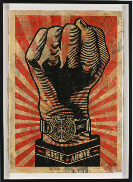 Shepard Fairey -  <strong>Rise Above Fist</strong> (2007<strong style = 'color:#635a27'></strong>)<bR /> hand painted multiple screenedcollage onpaper 29 x 42 inches