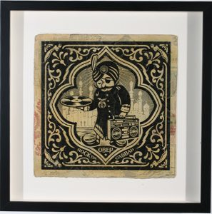 Shepard Fairey -  <strong>Rock the Casbah</strong> (2007<strong style = 'color:#635a27'></strong>)<bR /> hand painted multiple silkscreen collage on album cover 12 x 12 inches