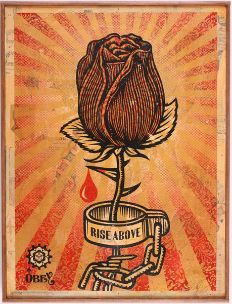 Shepard Fairey -  <strong>Rose Shackle HPM</strong> (2007<strong style = 'color:#635a27'></strong>)<bR /> hand painted multiple Screened collage onwood 18 x 24 inches