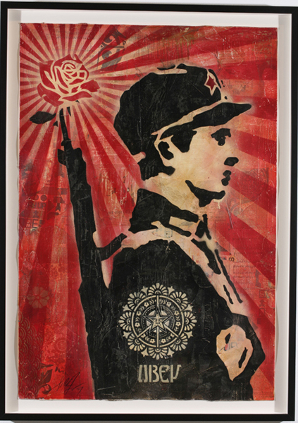 Shepard Fairey -  <strong>Rose Soldier</strong> (2007<strong style = 'color:#635a27'></strong>)<bR /> stencil collage on paper 30 x 44 inches