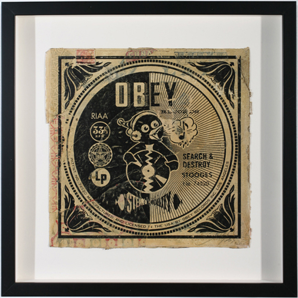 Shepard Fairey -  <strong>Search and Destroy AP</strong> (2007<strong style = 'color:#635a27'></strong>)<bR /> hand painted multiple silkscreen collage on album cover 12 x 12 inches