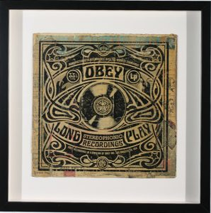 Shepard Fairey -  <strong>Stereophonic Long Play</strong> (2007<strong style = 'color:#635a27'></strong>)<bR /> hand painted multiple silkscreen collage on album cover 12 x 12 inches