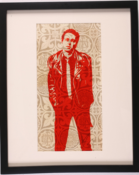 Shepard Fairey -  <strong>Joe Strummer</strong> (2007<strong style = 'color:#635a27'></strong>)<bR /> rubylith large 16 x 20 inches