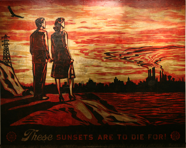 Shepard Fairey -  <strong>These Sunsets are to Die For</strong> (2007<strong style = 'color:#635a27'></strong>)<bR /> stencil collage and mixed media on canvas 8 x 10 feet