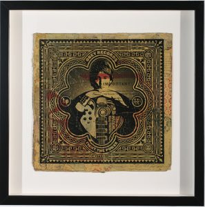 Shepard Fairey -  <strong>This Machine Kills Fascists</strong> (2007<strong style = 'color:#635a27'></strong>)<bR /> hand painted multiple silkscreen collage on album cover 12 x 12 inches