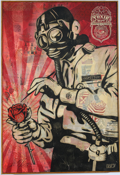 Shepard Fairey -  <strong>Toxic Dept</strong> (2007<strong style = 'color:#635a27'></strong>)<bR /> Stencil collage on canvas 30 x 43 inches