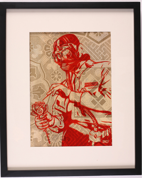 Shepard Fairey -  <strong>Toxicity Inspector</strong> (2007<strong style = 'color:#635a27'></strong>)<bR /> rubylith large 16 x 20 inches