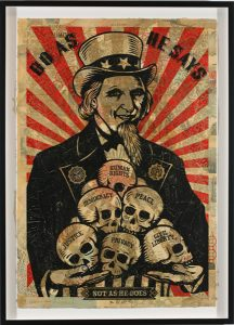 Shepard Fairey -  <strong>Uncle Scam</strong> (2007<strong style = 'color:#635a27'></strong>)<bR /> hand painted multiple screened collage on paper 29 x 42 inches