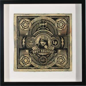 Shepard Fairey -  <strong>Uptown Boogie Down</strong> (2007<strong style = 'color:#635a27'></strong>)<bR /> hand painted multiple silkscreen collage on album cover 12 x 12 inches