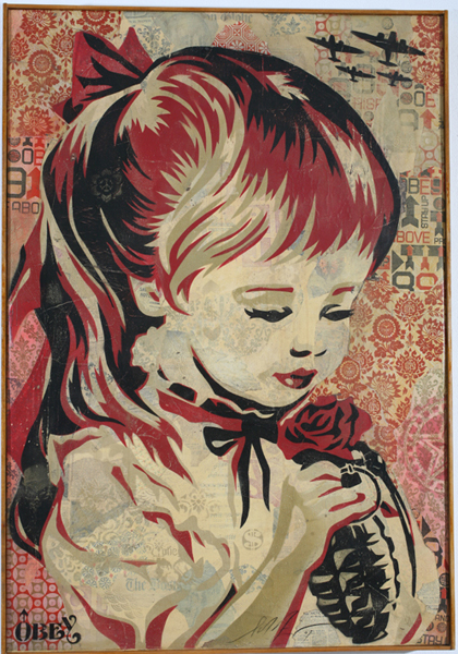 Shepard Fairey -  <strong>War by Numbers Canvas</strong> (2007<strong style = 'color:#635a27'></strong>)<bR /> stencil collageon canvas 30 x 43 inches