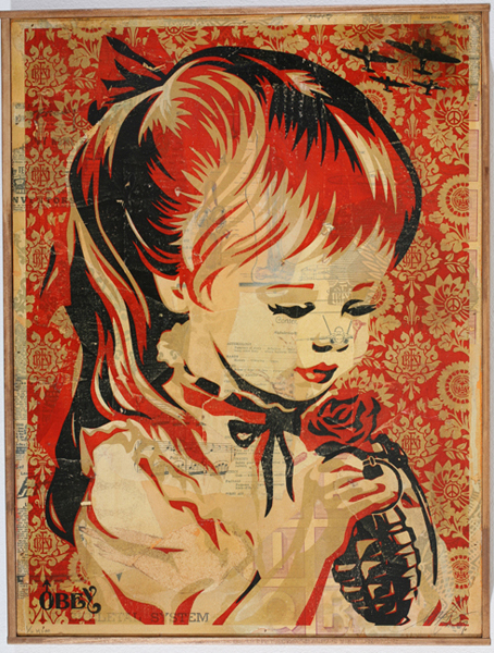 Shepard Fairey -  <strong>War by Numbers</strong> (2007<strong style = 'color:#635a27'></strong>)<bR /> hand painted multiple screened collageon wood 21 x 24 inches