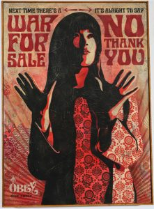 Shepard Fairey -  <strong>War For Sale</strong> (2007<strong style = 'color:#635a27'></strong>)<bR /> hand painted multiple screen collage on wood 18 x 24 inches