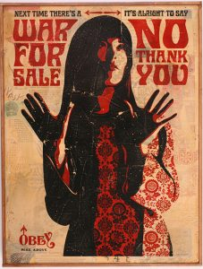 Shepard Fairey -  <strong>War for Sale HPM</strong> (2007<strong style = 'color:#635a27'></strong>)<bR /> hand painted multiple screen collage on wood 18 x 24 inches