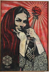 Shepard Fairey -  <strong>Woman of the Revolution</strong> (2007<strong style = 'color:#635a27'></strong>)<bR /> stencil collage on canvas 30 x 43 inches