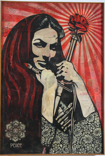 Shepard Fairey -  <strong>Woman of the Revolution</strong> (2007<strong style = 'color:#635a27'></strong>)<bR /> stencil collageon canvas 30 x 43 inches