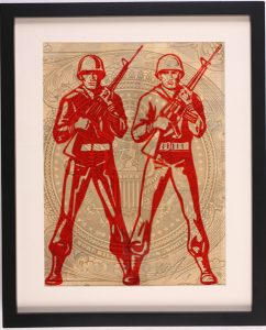 Shepard Fairey -  <strong>World Police</strong> (2007<strong style = 'color:#635a27'></strong>)<bR /> rubylith large 16 x 20 inches