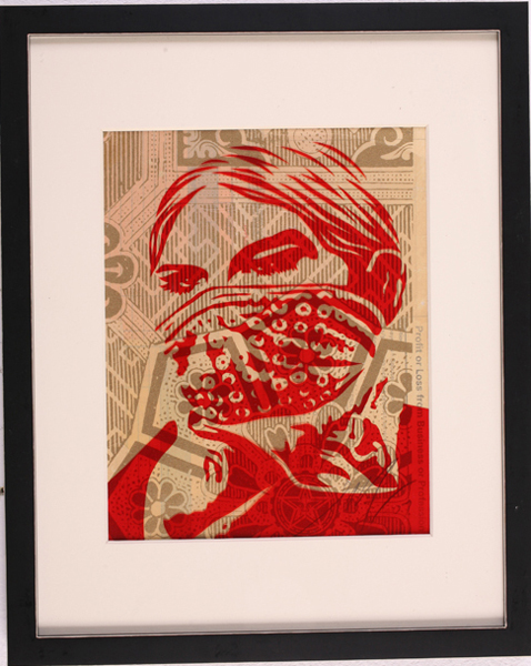 Shepard Fairey -  <strong>Zapatista Woman</strong> (2007<strong style = 'color:#635a27'></strong>)<bR /> rubylith small 12 x 15 inches