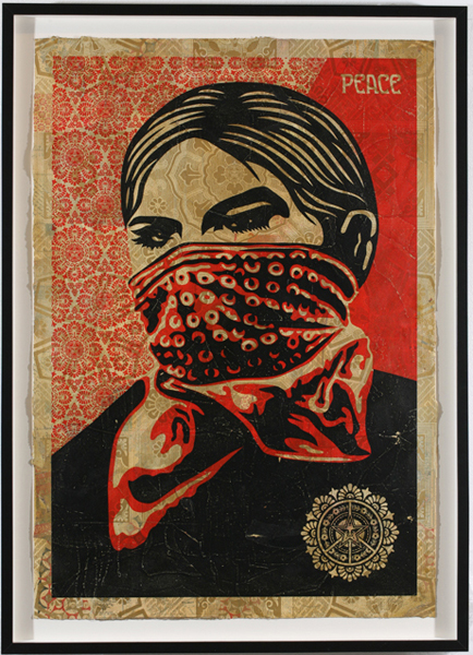 Shepard Fairey -  <strong>Zapatista Woman</strong> (2007<strong style = 'color:#635a27'></strong>)<bR /> hand painted multiple screened collage on paper 29 x 42 inches