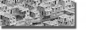Ben Tolman -  <strong>The Canal</strong> (2018<strong style = 'color:#635a27'></strong>)<bR /> ink on paper, 15 x 44 inches (framed: 17.5 x 44 inches), $4,500
