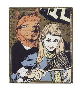 FAILE, . acrylic and silkscreen ink on wood in steel frame, 10.5 x 12.5 x 3 inches