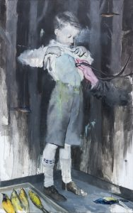 Joshua Flint -  <strong>Backbone</strong> (2017<strong style = 'color:#635a27'></strong>)<bR /> oil on canvas, 48 x 30 inches