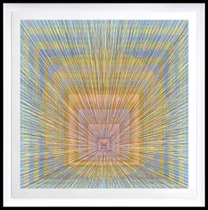 Kai & Sunny -  <strong>Brighter Days</strong> (2018<strong style = 'color:#635a27'></strong>)<bR /> ballpoint pen on 100% cotton Somerset tub sized 420gsm and framed in black stained oak, 46.5 x 46.5 inches (framed) $6,250