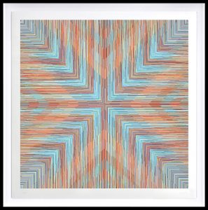 Kai & Sunny -  <strong>Cross</strong> (2018<strong style = 'color:#635a27'></strong>)<bR /> ballpoint pen on 100% cotton Somerset tub sized 420gsm and framed in black stained oak, 46.5 x 46.5 inches (framed) $6,250