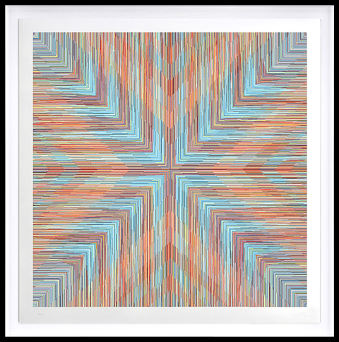 Kai & Sunny -  <strong>Cross</strong> (2018<strong style = 'color:#635a27'></strong>)<bR /> ballpoint pen on 100% cotton Somerset tub sized 420gsm and framed in black stained oak, 46.5 x 46.5 inches (framed)