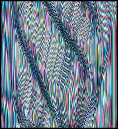 Kai & Sunny -  <strong>Curved by Tension</strong> (2018<strong style = 'color:#635a27'></strong>)<bR /> acrylic on 32mm aluminium panel and framed in black stained oak, 44.5 x 48.4 inches (framed)