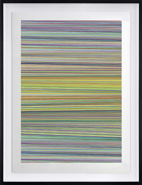 Kai & Sunny -  <strong>Horizon Fall</strong> (2018<strong style = 'color:#635a27'></strong>)<bR /> ballpoint pen on 100% cotton Somerset tub sized 420gsm and framed in black stained oak, 26.5 x 33 inches (framed) $4,000