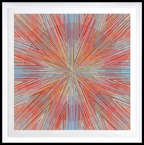 Kai & Sunny -  <strong>Star</strong> (2018<strong style = 'color:#635a27'></strong>)<bR /> ballpoint pen on 100% cotton Somerset tub sized 420gsm and framed in black stained oak, 46.5 x 46.5 inches (framed)