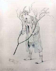 Kathryn Polk -  <strong>Let This Be a Warning</strong> (2018<strong style = 'color:#635a27'></strong>)<bR /> stone lithograph, 20 x 15 inches