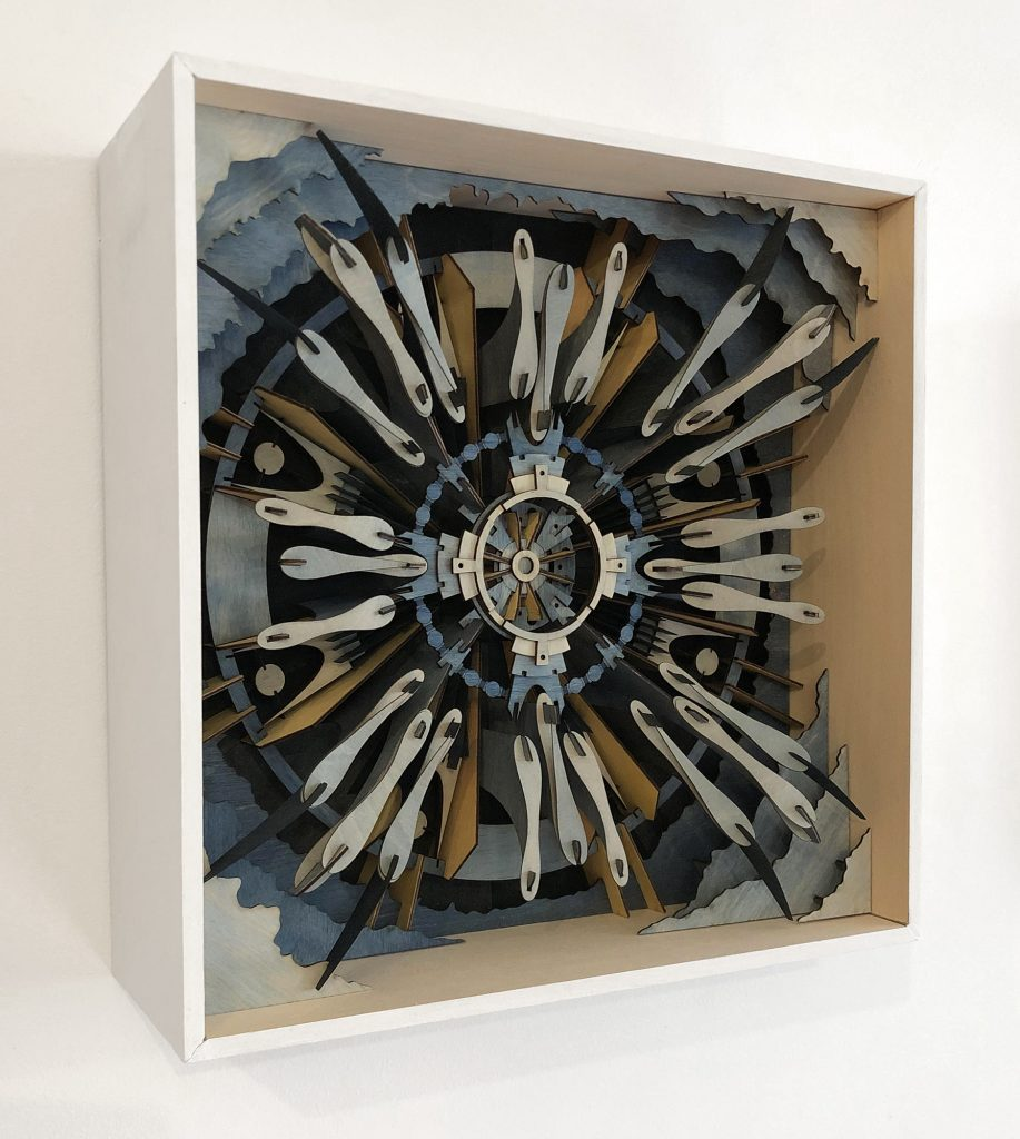 Katie Shima -  <strong>Timepiece / Floodgate	</strong> (2018<strong style = 'color:#635a27'></strong>)<bR /> wood and acrylic, 12 x 12 x 4 inches