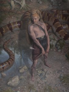Paul Reid -  <strong>Apollo and Python</strong> (2015<strong style = 'color:#635a27'></strong>)<bR /> oil on canvas, 39.5 x 33.6 inches