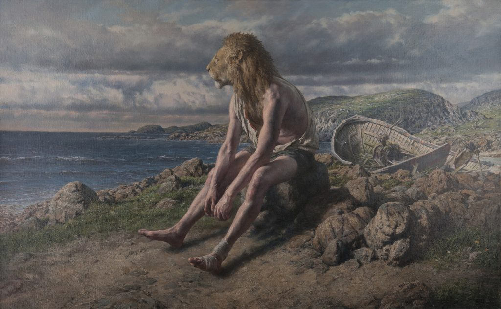 Paul Reid -  <strong>Stranded on the Island of Circe</strong> (2014<strong style = 'color:#635a27'></strong>)<bR /> oil on canvas, 25.6 x 41.3 inches