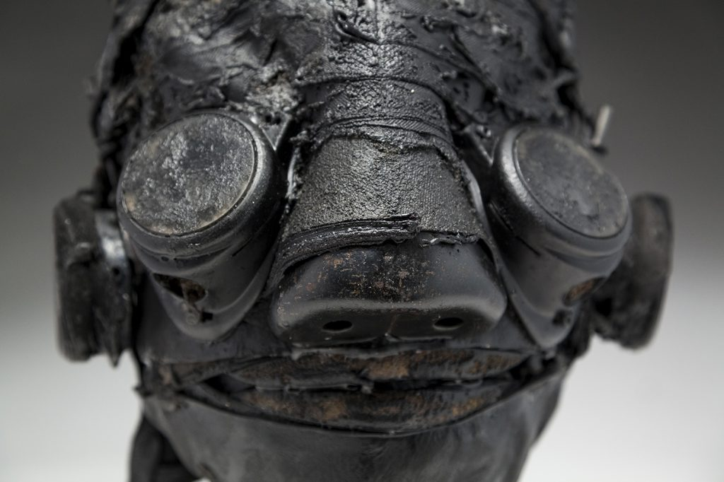 Ronald Gonzalez -  <strong>Darkly (detail)</strong> (2018<strong style = 'color:#635a27'></strong>)<bR /> black leather, found objects, wire, wax, carbon, screws and metal filings over welded steel armatures, 12 x 10 x 9 inches