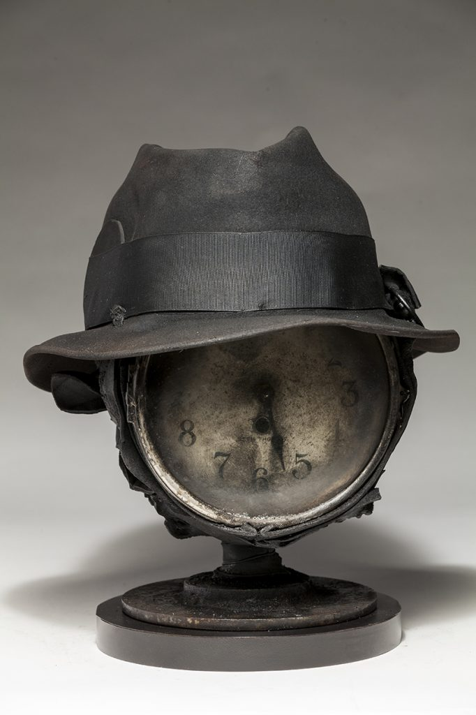 Ronald Gonzalez -  <strong>Fear of Time</strong> (2018<strong style = 'color:#635a27'></strong>)<bR /> black leather, found objects, wire, wax, carbon, screws and metal filings over welded steel armatures,  12 x 10 x 11 inches