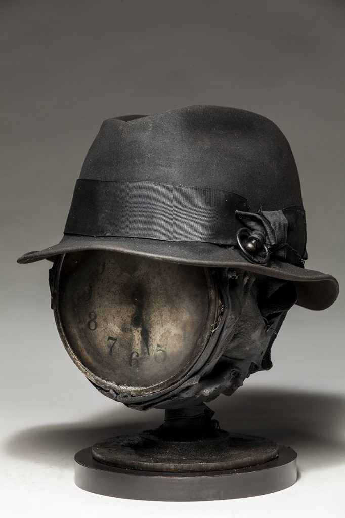 Ronald Gonzalez -  <strong>Fear of Time (side)</strong> (2018<strong style = 'color:#635a27'></strong>)<bR /> black leather, found objects, wire, wax, carbon, screws and metal filings over welded steel armatures,  12 x 10 x 11 inches
