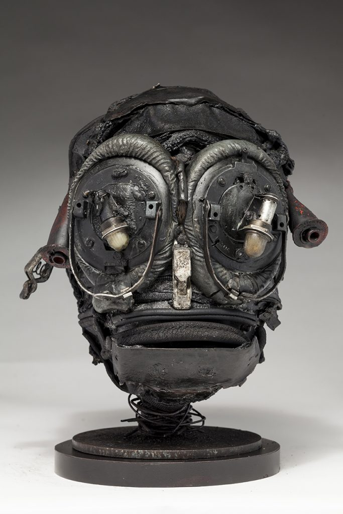 Ronald Gonzalez -  <strong>Insect</strong> (2018<strong style = 'color:#635a27'></strong>)<bR /> black leather, found objects, wire, wax, carbon, screws and metal filings over welded steel armatures, 11 x 8 x 8 inches
