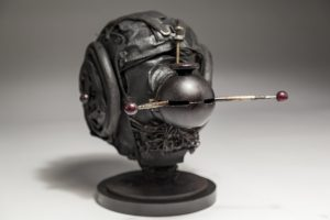 Ronald Gonzalez -  <strong>Messenger</strong> (2017<strong style = 'color:#635a27'></strong>)<bR /> black leather, found objects, wire, wax, carbon, screws and metal filings over welded steel armatures, 11 x 9 x 12 inches