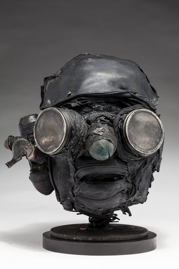 Ronald Gonzalez -  <strong>Searchlights</strong> (2018<strong style = 'color:#635a27'></strong>)<bR /> black leather, found objects, wire, wax, carbon, screws and metal filings over welded steel armatures, 11 x 9 x 10 inches
