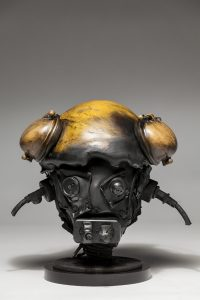 Ronald Gonzalez -  <strong>Suddenly Shocked</strong> (2018<strong style = 'color:#635a27'></strong>)<bR /> black leather, found objects, wire, wax, carbon, screws and metal filings over welded steel armatures, 12 x 13 x 12 inches