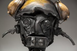Ronald Gonzalez -  <strong>Suddenly Shocked (detail)</strong> (2018<strong style = 'color:#635a27'></strong>)<bR /> black leather, found objects, wire, wax, carbon, screws and metal filings over welded steel armatures, 12 x 13 x 12 inches