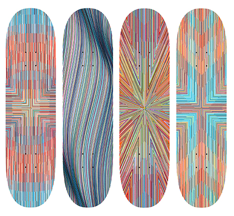 Kai & Sunny x Element -  <strong>Set of 4 Skate Decks</strong> (2018<strong style = 'color:#635a27'></strong>)<bR /> 8 color silkscreen on Featherlight 3 dyed veneer skate deck, 8.25 inches wide each,  edition of 75 each