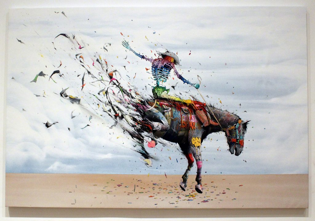 Brusk -  <strong>Once Upon a Time in the West</strong> (2018<strong style = 'color:#635a27'></strong>)<bR /> aerosol paint and gouached felt on canvas, 48 x 72 inches
