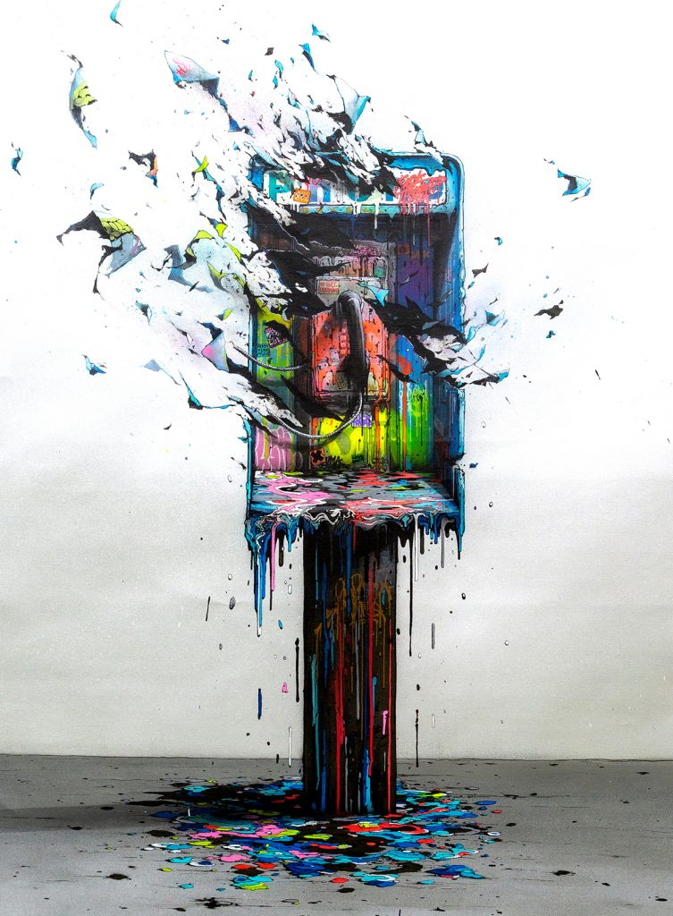 Brusk -  <strong>Planned Obsolescence 2</strong> (2018<strong style = 'color:#635a27'></strong>)<bR /> aerosol paint and gouached felt on canvas,  48 x 36 inches