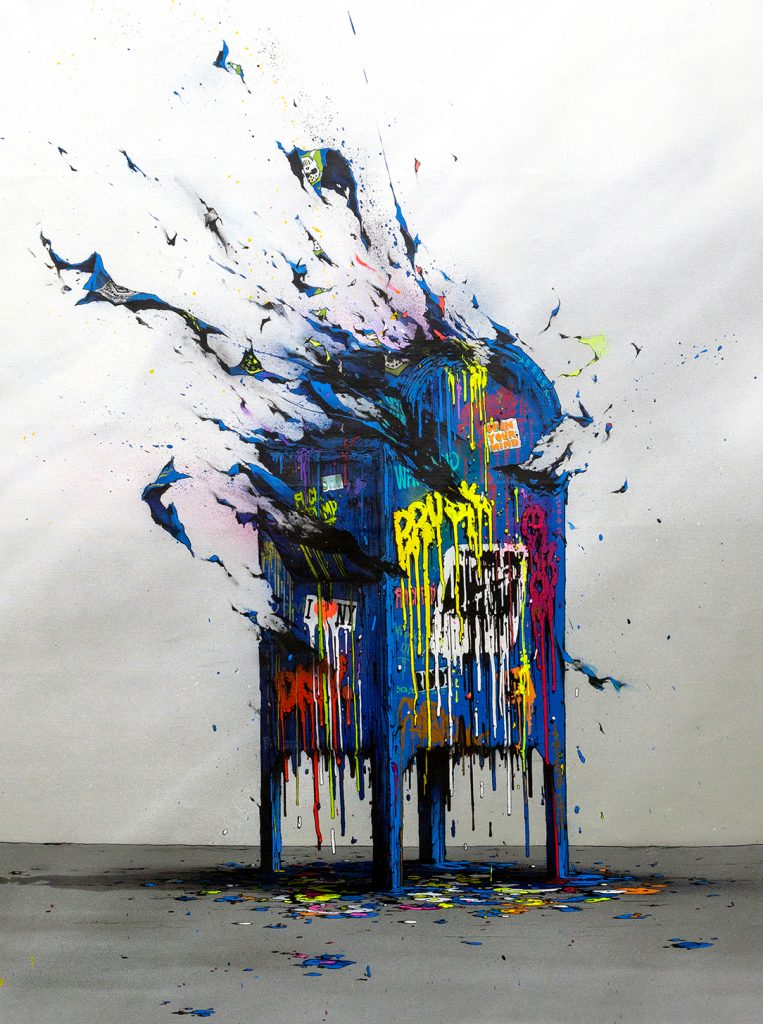 Brusk -  <strong>Planned Obsolescence 1</strong> (2018<strong style = 'color:#635a27'></strong>)<bR /> aerosol paint and gouached felt on canvas, 48 x 36 inches