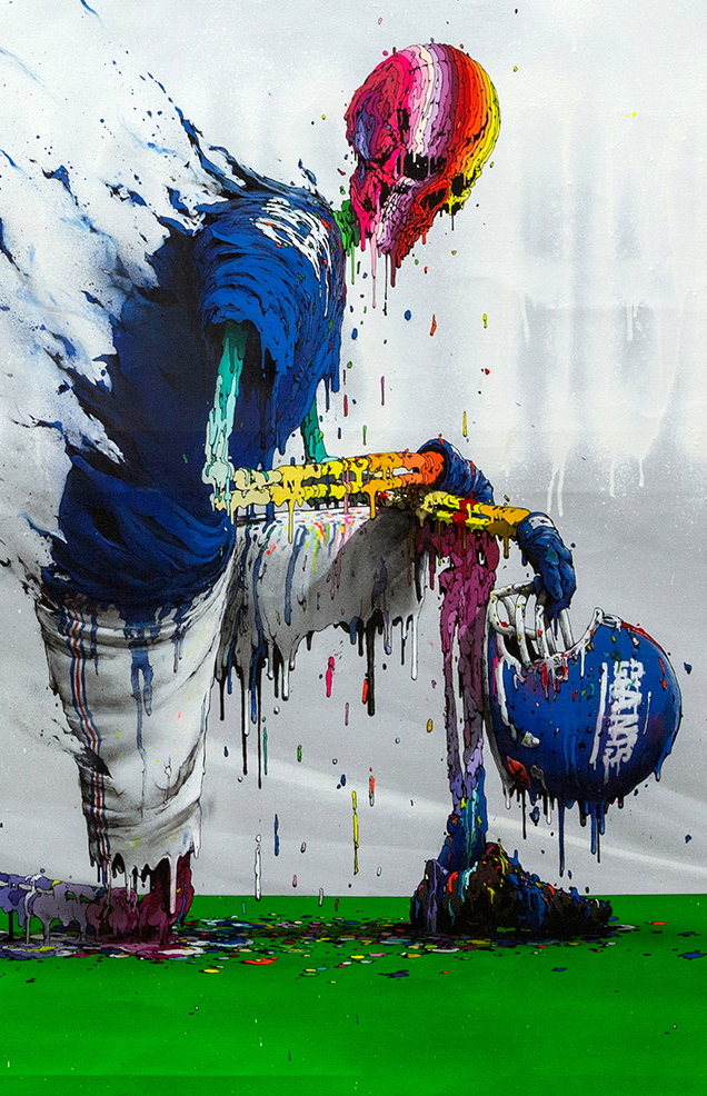 Brusk -  <strong>Perilous Fight? (detail)</strong> (2018<strong style = 'color:#635a27'></strong>)<bR /> aerosol paint and gouached felt on canvas,  48 x 60 inches